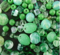 Pressed Glass Bead Mix - Green