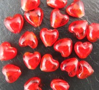 Glass Heart Beads - Red