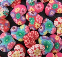 Pattern Clay Beads - Love Heart