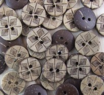 Coconut Shell Buttons - Diamonds