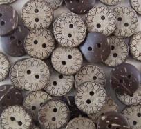 Coconut Shell Buttons - Petal Border