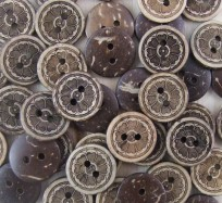 Coconut Shell Buttons - Flowers