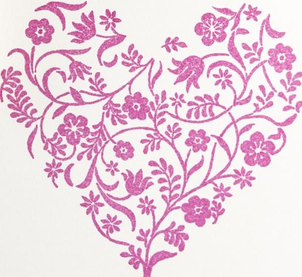 printing stamp flowery heart
