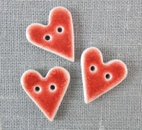 Porcelain Buttons - Small Hearts / Red