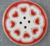 Porcelain Button - Extra Large Round / Red