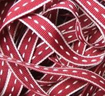 Saddle Stitch Ribbon - Burgundy & Ivory