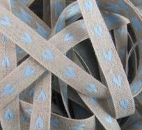 Woven Heart Ribbon - Blue Hearts